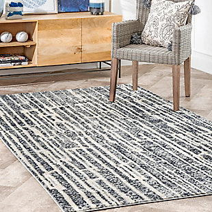 NuLoom Striped Kuhn 5' x 8' Area Rug, Gray, large