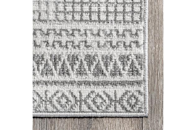 NuLoom Harper Mosaic Tribal Stripes 5' x 8' Area Rug, Gray, large