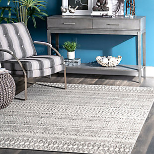 NuLoom Catherine Henna Tribal Bands 5' x 8' Area Rug, Gray, rollover