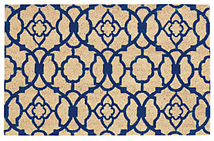 "Home Accents 1'6"" x 2'4"" Lovely Lattice Doormat, Navy, large"