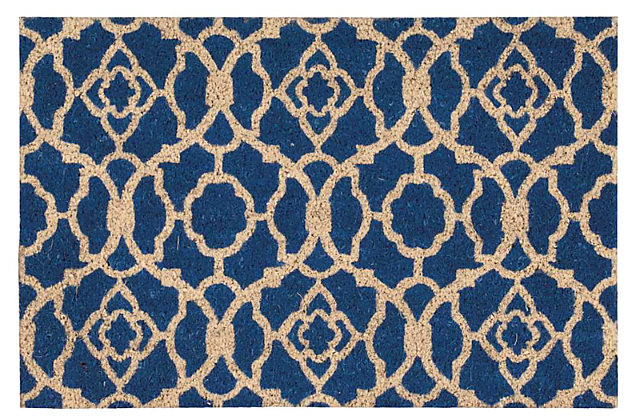 "Home Accents 1'6"" x 2'4"" Lovely Lattice Doormat, Ocean, large"
