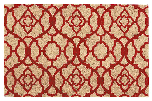 "Home Accents 1'6"" x 2'4"" Lovely Lattice Doormat, Red, large"