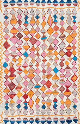 NuLoom Hand Tufted Moroccan Helaine Shaggy 5' x 8' Area Rug, Multi, large