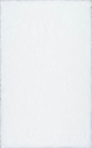 NuLoom Rodolfo Faux Sheepskin Shag 5' x 8' Area Rug, White, large