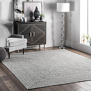 NuLoom Braided Lefebvre Indoor/Outdoor 5' x 8' Area Rug, Salt and Pepper, rollover