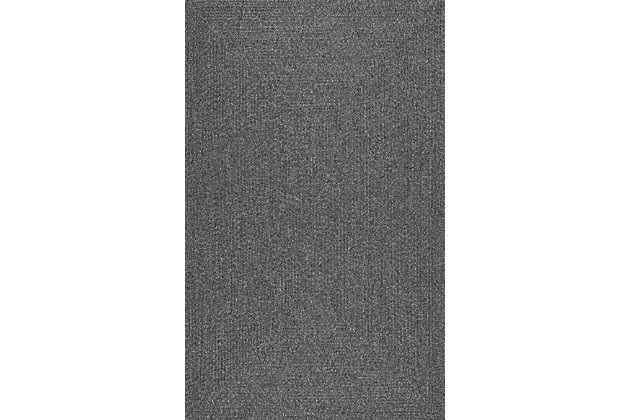 """NuLoom Braided Lefebvre Indoor/Outdoor 7' 6"""" x 9' 6"""" Area Rug, Charcoal, large"""