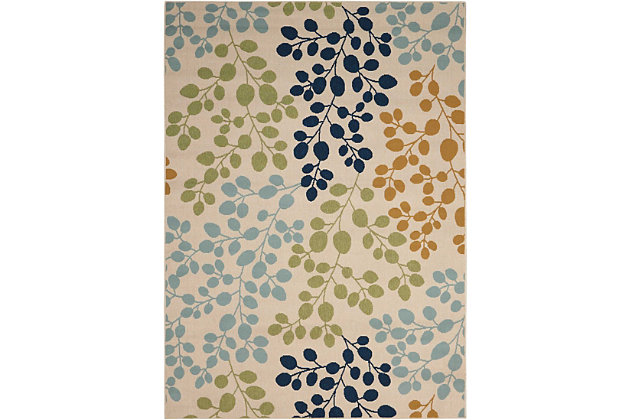 Nourison Caribbean White Multicolor 4'x6' Area Rug, Ivory, large