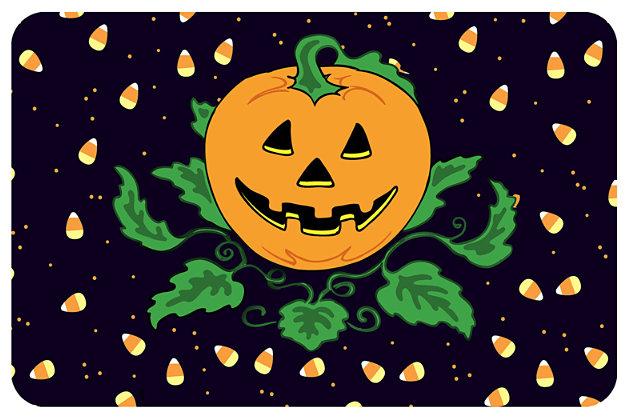 "Home Accents 1'6"" x 2'3"" Candy Corn Pumpkin Doormat, , large"