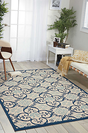 Nourison Caribbean Dark Blue and White 5'x8' Area Rug, Ivory/Navy, rollover
