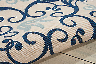 Nourison Caribbean Dark Blue and White 5'x8' Area Rug, Ivory/Navy, large