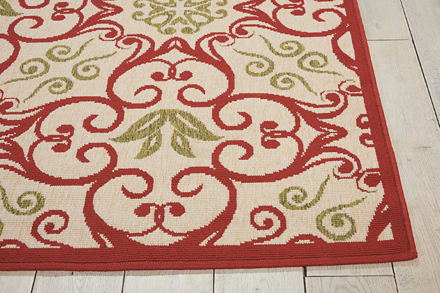 Nourison Caribbean Ivory and Red 8'x11' Oversized Rug, Ivory/Rust, large