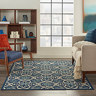 Nourison Caribbean Navy Blue and White 5'x8' Area Rug, Navy, rollover