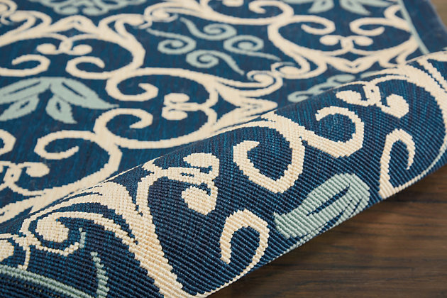 Nourison Caribbean Navy Blue And White 5'x8' Area Rug, Navy, large