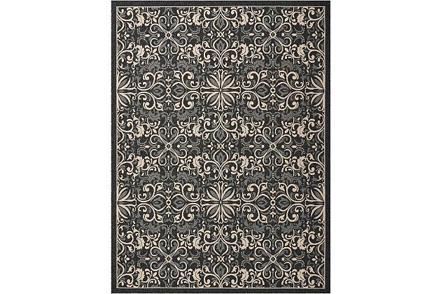Nourison Caribbean Black 8'x11' Oversized Rug, Charcoal, large