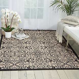 Nourison Caribbean White And Black 5'x8' Area Rug, Ivory/Charcoal, rollover