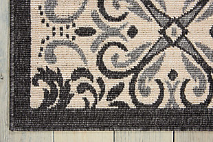 Nourison Caribbean White And Black 5'x8' Area Rug, Ivory/Charcoal, large
