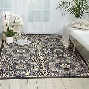 Nourison Caribbean White and Black 4'x6' Area Rug, Ivory/Charcoal, rollover
