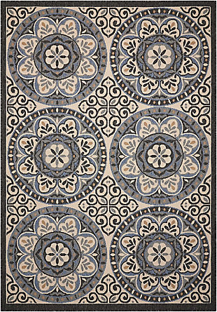 Nourison Caribbean White and Black 4'x6' Area Rug, Ivory/Charcoal, large