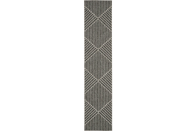Nourison Cozumel 10' Runner Area Rug, Dark Gray, large
