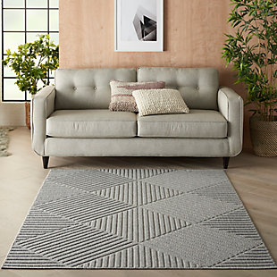 Nourison Cozumel 5' x 7' Area Rug, Light Gray, rollover
