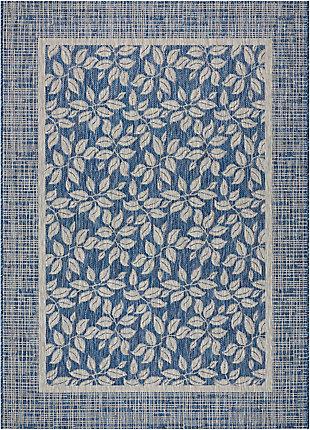 Nourison Countryside Blue 5'x7' Flat Weave Area Rug, Denim, large