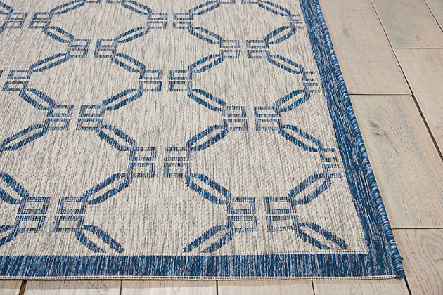 Nourison Countryside Blue And White 8'x11' Oversized Indoor-outdoor Rug, Ivory/Blue, large