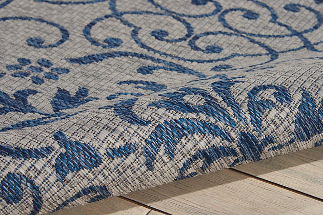 Nourison Countryside Blue And White 4'x6' Flat Weave Area Rug, Ivory/Blue, large