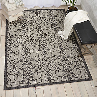 Nourison Countryside Grey And White 5'x7' Flat Weave Area Rug, Ivory/Charcoal, rollover