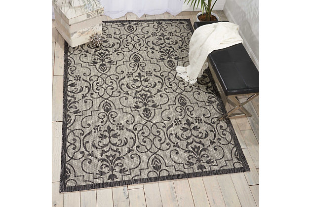 Nourison Countryside Grey And White 5'x7' Flat Weave Area Rug, Ivory/Charcoal, large