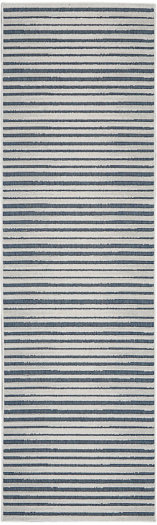 Nourison Key Largo 10' Runner Blue Area Rug, Blue, large