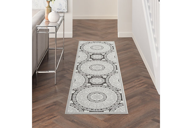Nourison Key Largo 10' Runner Gray Area Rug, Gray, large