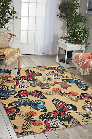 Nourison Home & Garden Yellow 5' x 8' Area Rug, Yellow, rollover