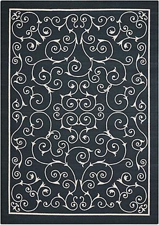 Nourison Home & Garden Black 5' X 8' Area Rug, Black, large