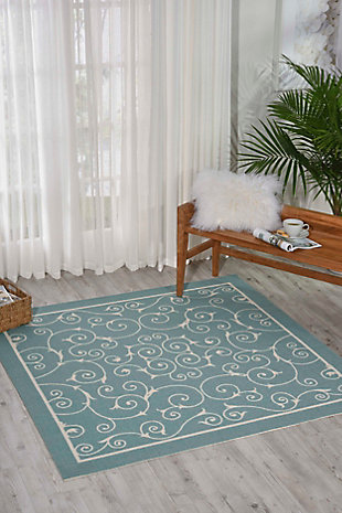 Nourison Home & Garden Blue 5' x 8' Area Rug, Light Blue, rollover