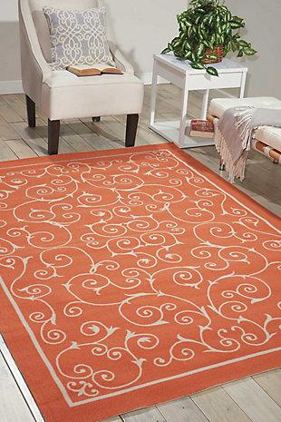 Nourison Home & Garden Orange 5' X 8' Area Rug, Orange, large