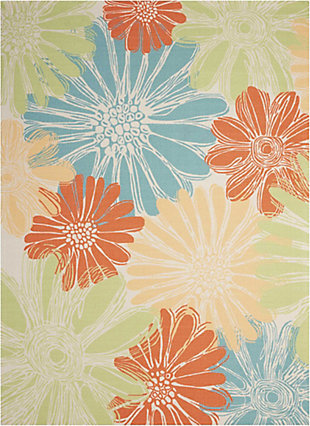 Nourison Home & Garden Multicolor 5' X 8' Area Rug, Ivory, large