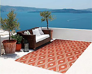 Nourison Home & Garden Red And Brown 5' X 8' Area Rug, Rust, rollover