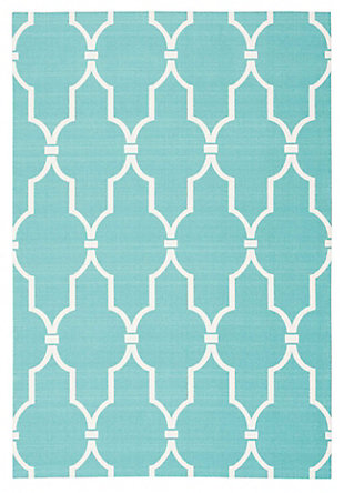 Nourison Home & Garden Blue 5' x 8' Area Rug, Aqua, large