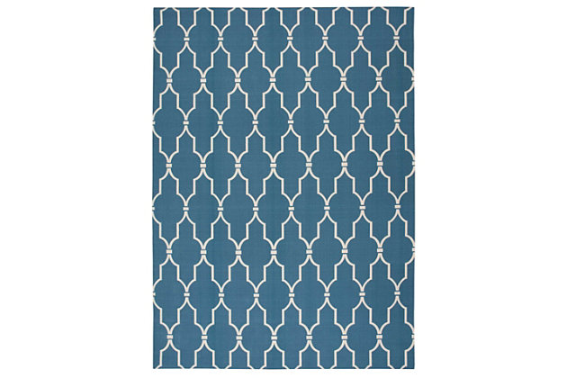 Nourison Home & Garden Dark Blue 5' X 8' Area Rug, Navy, large