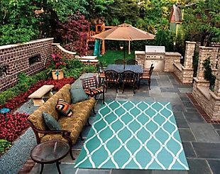 Nourison Home & Garden Blue 5' X 8' Area Rug, Aqua, rollover