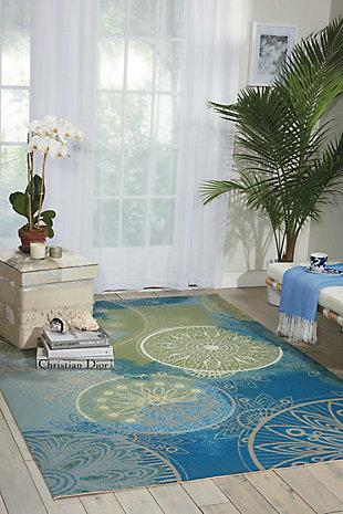 Nourison Home & Garden Blue 5' x 8' Area Rug, Blue, rollover