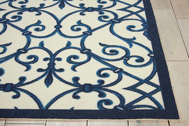 Nourison Home & Garden Blue 4' X 6' Area Rug, Blue, large