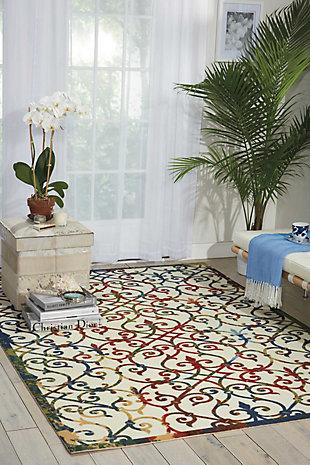 Nourison Home & Garden Multicolor 5' x 8' Area Rug, Multi, rollover