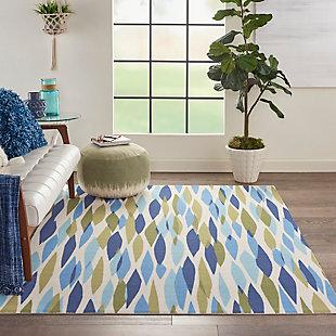 Nourison Waverly Sun N' Shade Green 5'x8' Area Rug, Seaglass, rollover