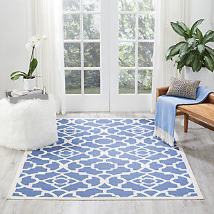Nourison Waverly Sun N' Shade Blue 5'x8' Area Rug, Lapis, rollover