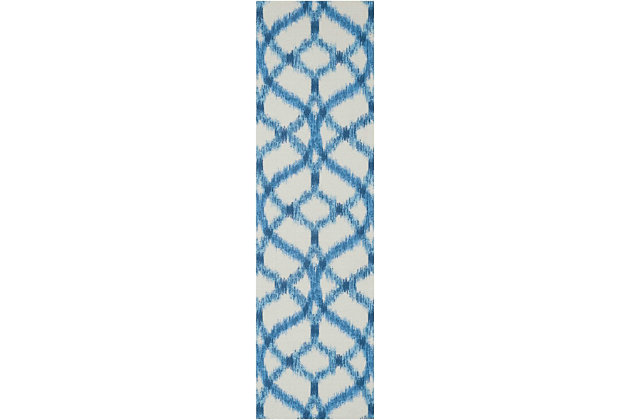 Nourison Waverly Sun N' Shade Green 8' Runner Hallway Rug, Aegean, large