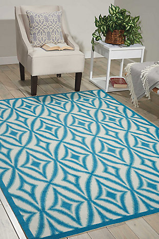 Nourison Waverly Sun N' Shade Blue 5'x8' Area Rug, Azure, rollover