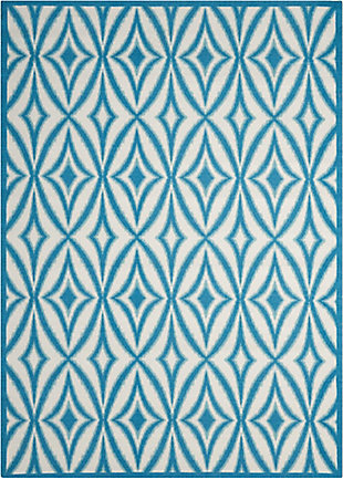 Nourison Waverly Sun N' Shade Blue 5'x8' Area Rug, Azure, large