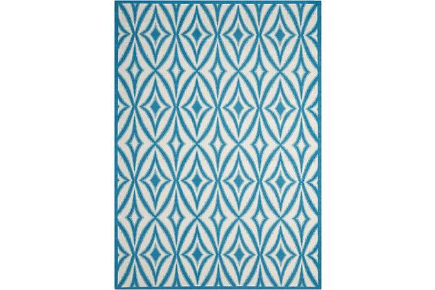 Nourison Waverly Sun N' Shade Blue 5'x8' Area Rug, Azure, large