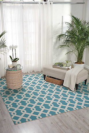 Nourison Waverly Sun N' Shade Blue 5' Square Area Rug, Poolside, rollover